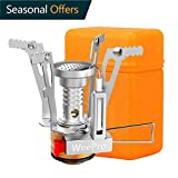 WeePro Camping Propane Stove - Portable Stainless Piezo Ignition Stove - Outdoor Camping, Hiking, Backpacking Stove Gear for Butane Canisters - Pocket Size, with Orange Case