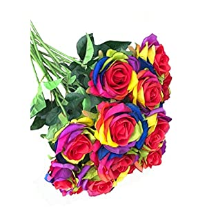 OOKI Pack of 12 - Artificial Silk Rose Flower Rianbow Roses Flowers-DIY Bridal Bouquet Flower or DIY Any Home Garden Decoration Pack of 12pcs 104