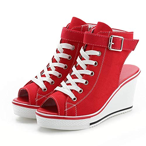 Red Plaid Creeper Shoe - Sandals for Women with High Heel Wobuoke Canvas Adjustable Buckle Peep Toe Creepers Wedges Shoes Sandals Red