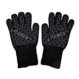 """UPGRADE EN407 Flamen BBQ Grilling Cooking Gloves 932 °F 500°C Heat Resistant Oven Gloves 13"""" Long for Extra Forearm Protection 1 Pair"""