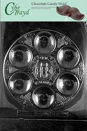 Cybrtrayd R300 Seder Plate Chocolate Candy Mold with Exclusive Cybrtrayd Copyrighted Chocolate Molding Instructions plus Optional Candy Packaging Bundles (Plate Chocolate)