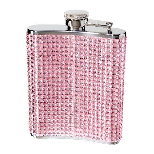 Oggi 9248.13 Glitter and Glitz Stainless Steel Hip Flask, Pink by Oggi