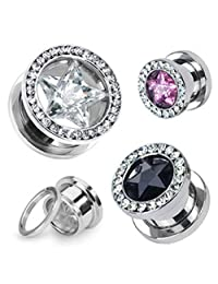 Star CZ and Multi-Gemmed Rim 316L Surgical Stainless Steel Screw Fit WildKlass Hollow Tunnel (Sold as a Pair)