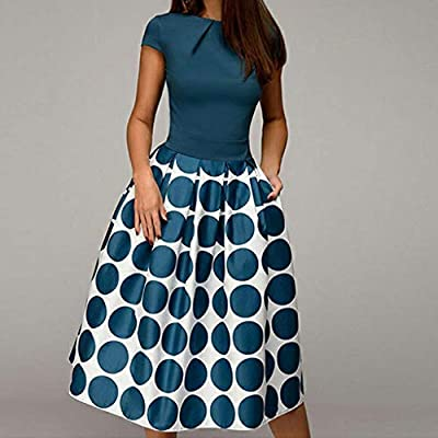 A Line Women Elegant Wave Point Pocket Sashes Knee Length Splice Casual Dress