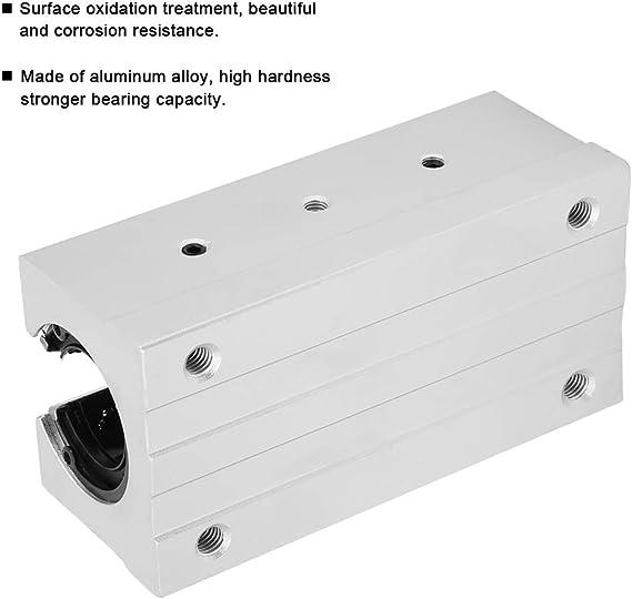JVSISM SBR20UU Lot de 4 routeurs de mouvement lin/éaires en aluminium avec bloc C Argent/é 20 mm