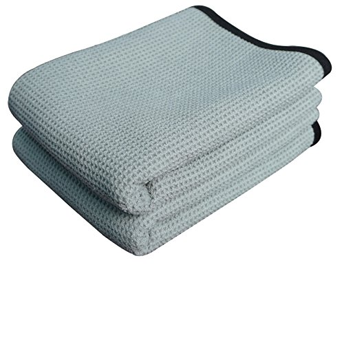 Gryeer Extra Large Microfiber Waffle Weave Drying Towel, Professional Grade Car Cleaning Detailing Cloth, Bigger and Thicker than Normal Waffle Drying Towels, 400gsm, 40x28 inch,Pack of 2, Gray