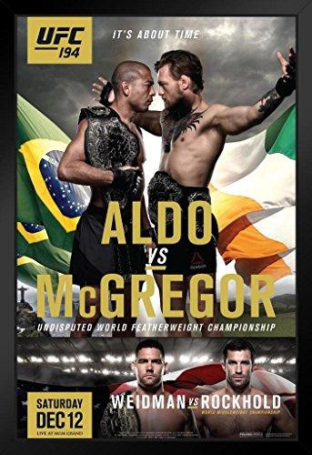 Pyramid America Official UFC 194 Jose Aldo vs. Conor McGregor Sports Black Wood Framed Poster 14x20 (Conor Mcgregor Vs Jose Aldo Ufc 194)