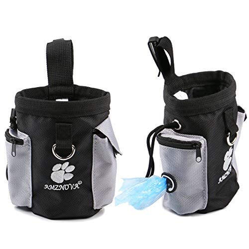 AMZNOVA Dog Treat Bag, Puppy Training Pouch Pet Small Dog Bait Holder, Animal Walking Snack Container Best Hiking Toys Pack Dispenser Carries, Black
