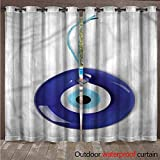 cobeDecor Evil Eye Outdoor Curtains for Patio Sheer Spiritual Bead Luck Charm W84 x L84(214cm x 214cm)