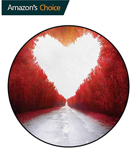 RUGSMAT Love Area Rugs Ring 3D Non-Slip Rug,Road to Valentines Tunnel Autumn Trees Foliage Forest Landscape Scenery Rural Nature Living Room,Bedroom,Desk/Chair Mats,Round,Diameter-39 Inch