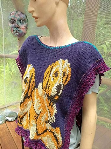 Women's poncho style sweater with labrador retriever dogs, cotton knit One of a Kind