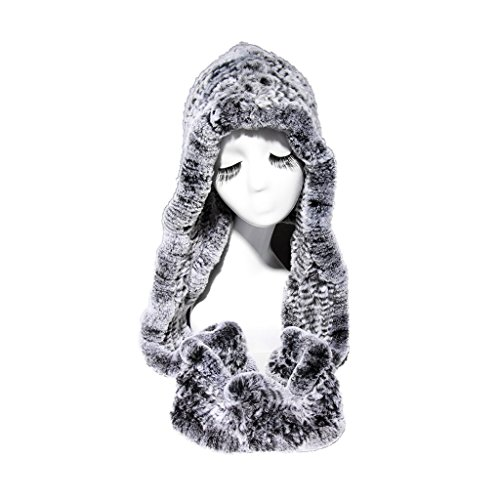 Fur Story 15670 Women's Knitted Real Rabbit Fur Beanie Hat with Fur Hat Scarf Silver Black by Furstory
