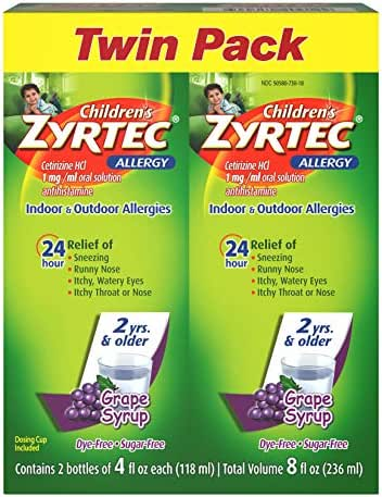 Children's Zyrtec 24 Hr Children's Allergy Syrup With Cetirizine, Sugar-free Grape, Twin Pack Of 4 Fl. Oz, 8 fl. oz
