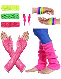 Women's 80s Outfit Accessories Neon Earrings Leg Warmers Gloves