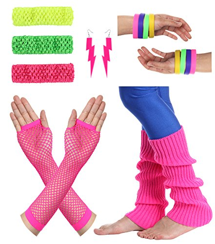 The 80s Costumes (JustinCostume Women's 80s Outfit Accessories Neon Earrings Leg Warmers Gloves, A)