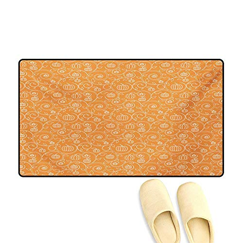 Doormat,Pattern with Pumpkin Leaves and Swirls on Orange Backdrop Halloween Inspired,Bath Mat for Tub,Orange White,32