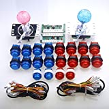 Easyget Arcade Game Parts PC of Zero Delay Arcade DIY Kit MAME USB Encoder Board + Arcade LED Gamepads + Illuminated Push Buttons + Buttons Wire Harness For Arcade Machine Controller - Blue + Red