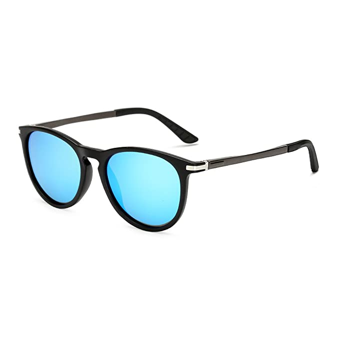 e96c2bd8921 Long Keeper Round Polarized Sunglasses Men Women Fashion Vintage UV400  Glasses (Black Blue)