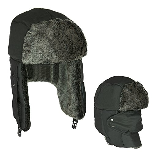Cute Russian Style Fur Trapper Hat with Detachable Balaclava in Black (How To Wear A Santa Hat)