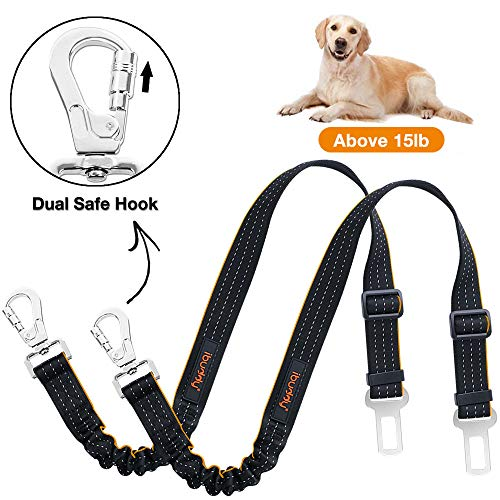 iBuddy Dog Seat Belts for Cars of Medium/Large Dogs,Adjustable Pet Seat Belt for Dog Harness with Dual Safe Bolt Hook and Elastic Durable Nylon Dog Safety Belt for Car (2 Pack(Orange))