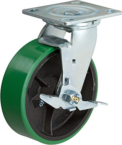 6 Inch Swivel Caster - 6 X 2 Green Polyurethane on Iron Wheel - 1200 Lb Weight Capacity - Great For Tool Box Replacements or Heavy Equipment - Easy Push - CasterHQ Brand ()