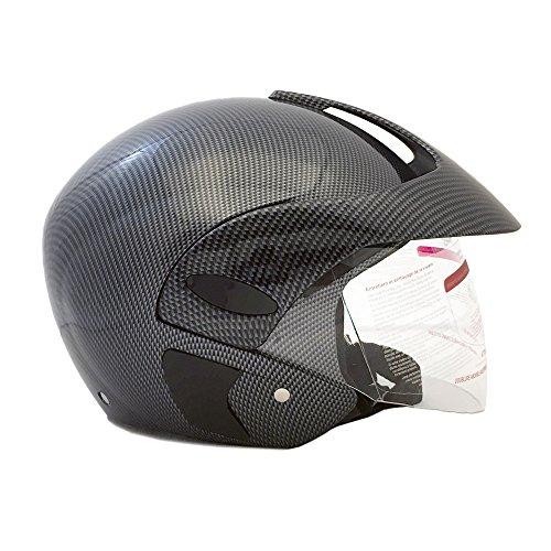 Motorcycle Powersports Open Face Helmet DOT Street Legal - FlipUp Clear Shield - Carbon Fiber (Size: XXL) by MMG (Image #1)