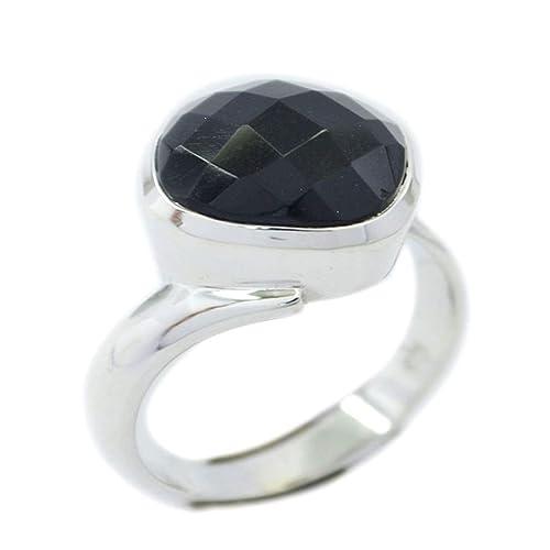 55Carat Genuine Black Onyx Sterling Silver Ring Round Shape Chakra Healing US 4,5,6,7,8,9,10,11,12