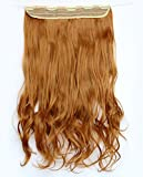 "5pcs Clips in Synthetic Hair Extension Hairpieces Long Wavy Length 22"" 120g #27s"