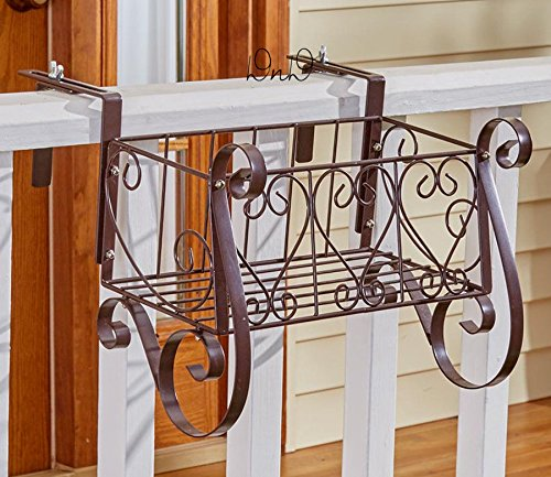 - Decorative Metal Heart Scrolled Rail Or Fence Planter Adjustable Lawn Yard Porch (Small)