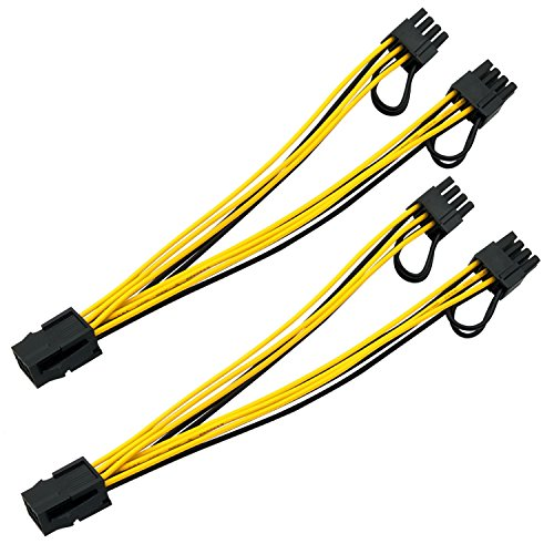 6 Pin to 2 x PCIe 8 Pin (6+2) Motherboard Graphics Video Card PCI-e Express Power Adapter GPU VGA Y-splitter Extension Cable Ethereum Mining ETH Hub 8 Inch (20cm) 2 Pack