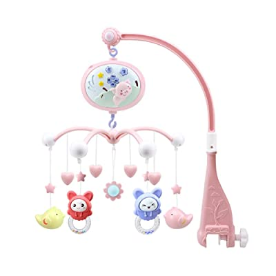 signmeili Projection Mobile Baby Musical Crib Mobile with Projector and Music Box Bed Bell Multi-Function Baby Early Education Remote Control and Hanging Rattles Toy for Newborn 0-24 Months: Home & Kitchen