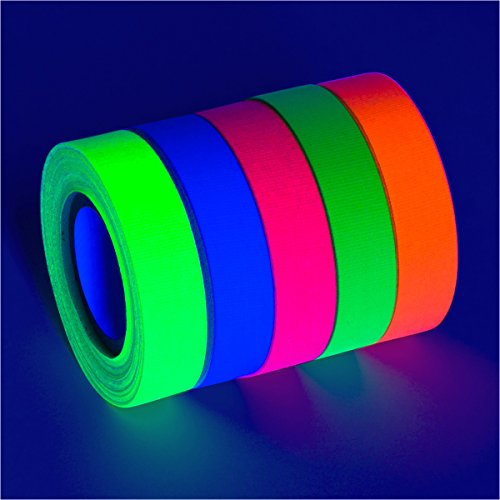 Glow King 5-Pack Blacklight Reactive Fluorescent Neon Gaffer Tape (Matte Finish) - Decorative Black Light Neon Party Tape ()