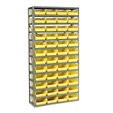 13 Shelf Steel Shelving with (48) 4''H Plastic Shelf Bins, Yellow, 36x12x72