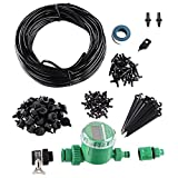 Yescom 82 ft DIY Micro Drip Irrigation System Kit with Timer Dripper Automatic Watering 1/4'' Distribution Tubing