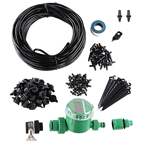 Yescom 82 ft DIY Micro Drip Irrigation System Kit with Timer Dripper Automatic Watering 1/4'' Distribution Tubing by Yescom