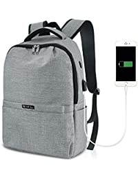 Business Backpack, S.K.L Basic Laptop Backpack with USB Charging Port Water Resistant College School Computer