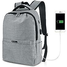 Business Backpack, S.K.L Basic Laptop Backpack with USB Charging Port Water Resistant College School Computer Bag Travel Daypack for Men Women Teen Girls Boys