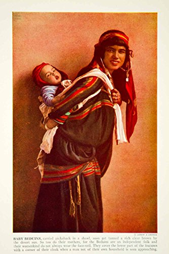 1938 Color Print Beduin Tribe Middle East Traditional Costume Dress Image XGGD4 - Original Color Print - Heir Costumes