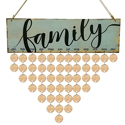 Wood DIY Calendar, Indoor and Outdoor Holiday Hanging Door Decorations and Wall Signs, Winter Wonderland Decor, for Home, School, Office, Party Decorations for Family &Friends Birthday (D)]()
