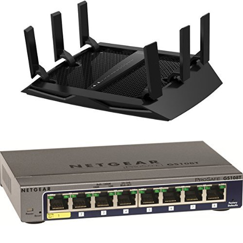 NETGEAR Nighthawk X6 AC3200 Tri-Band Gigabit WiFi Router (R8000) Bundle with NETGEAR ProSAFE GS108T 8 Port Gigabit Smart Switch (GS108T) by NETGEAR