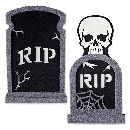 Halooween Decorations (DII Indoor and Outdoor Foam Halloween Door Decorations and Wall Signs, For Home, School, Office, Party Decorations, Set of 2 - Tombstones)