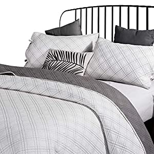 ANNA.Z HOME Seville, Mason, Coverlet, Quilt Collection, 100% Cotton 3 Piece Set. Trendy Embroidery & Quilting. Ivory and Gray Color. Reversible. Good for All Seasons from ANNA.Z HOME