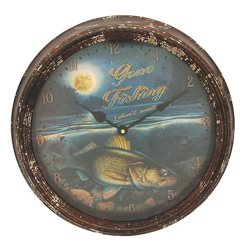 Rivers Edge Products Metal Clock, 15-Inch, Walleye 1028