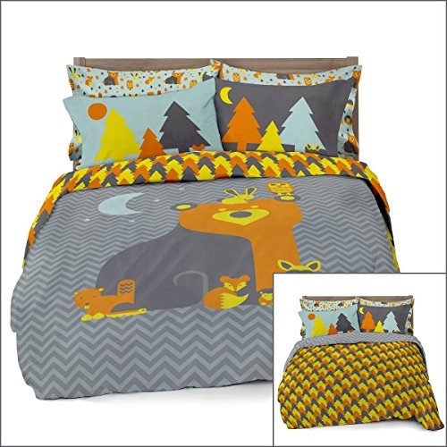 Full/Queen Woodland Creatures Duvet Cover Set with 2 Pillowcases for Kids Bedding - Double Brushed Ultra Microfiber Luxury Set By Where The Polka Dots Roam (L 90in x W 92in) (Double Sets Bedding)
