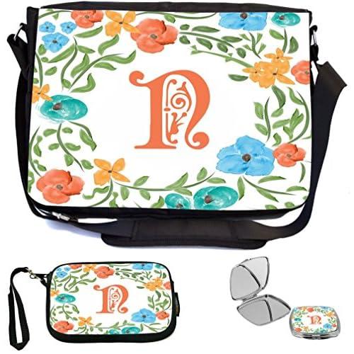 Rikki Knight Letter N Monogram Floral Art Peachy Blue Design Design COMBO Multifunction Messenger Laptop Bag - with padded insert for School or Work - includes Wristlet & Mirror