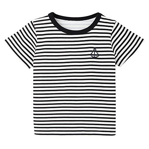 Sherostore ♡ Kids Boys Children's Toddler Striped T Shirts Short Sleeve Crew Neck Stripes Tee Shirt Black -