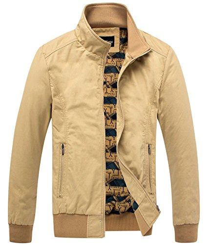 Basic Essentials Men Khaki (Chouyatou Men's Essential Cotton Lightweight Bomber Jacket (Medium, Khaki))