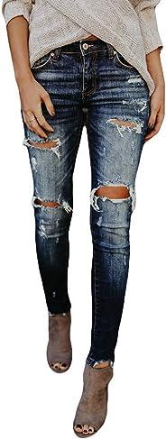WUAI-Women Juniors Stretch Hight Waisted Ripped Skinny Jeans Distressed Denim Jeggings Pants Regular-Plus Size