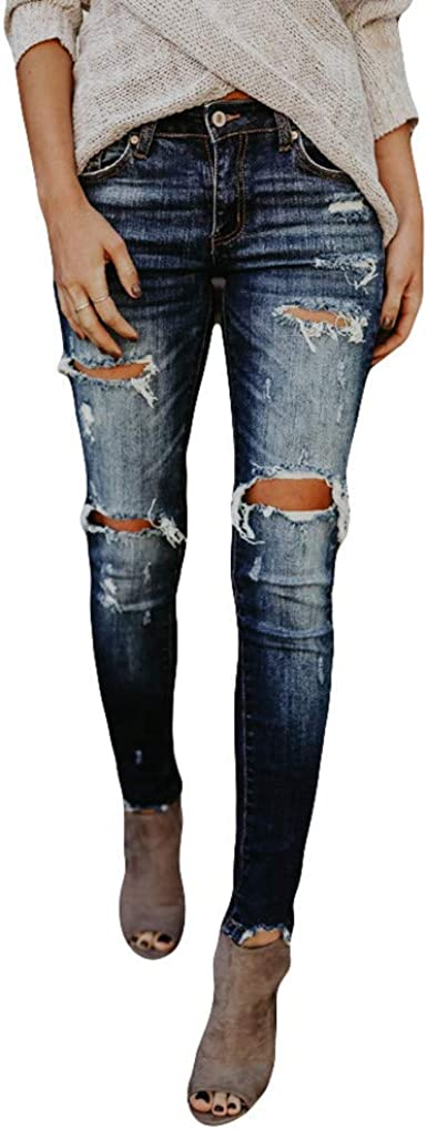 K Youth Jeans Ajustado De Mujer Slim Vaqueros Rotos Para Mujer Casual Elastico Vaqueros Cenidos De Tiro Alto Mujer Pantalones Mujeres Largos Tallas Grandes Pantalones De Mezclillade Mujer Amazon Es Ropa Y Accesorios
