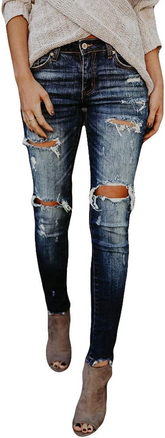 5214 Knackige Damen Jeans Hose Röhre Stretch-Denim Slimfit Glitzer Destroyed